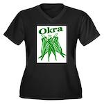 OIKRA Women's Plus Size V-Neck Dark T-Shirt