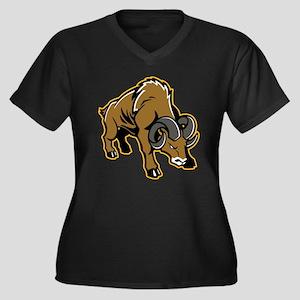 Charging Ram Women's Plus Size V-Neck Dark T-Shirt