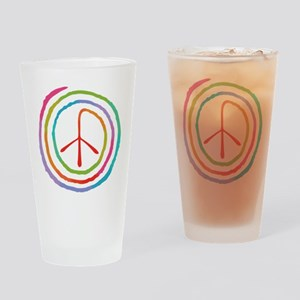 Neon Spiral Peace Sign II Drinking Glass