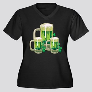 Green Beer Women's Plus Size V-Neck Dark T-Shirt