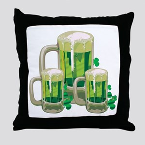 Green Beer Throw Pillow