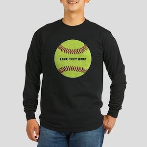 Customize Softball Name Long Sleeve Dark T-Shirt