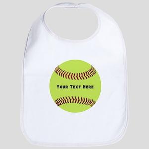 Customize Softball Name Cotton Baby Bib