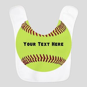 Customize Softball Name Polyester Baby Bib