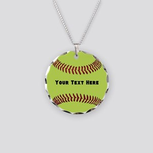 Customize Softball Name Necklace Circle Charm