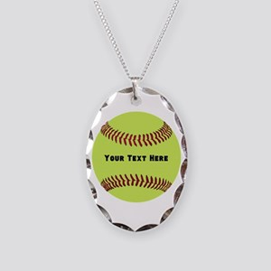 Customize Softball Name Necklace Oval Charm