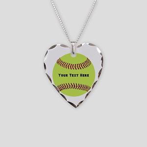 Customize Softball Name Necklace Heart Charm