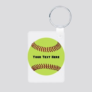 Customize Softball Name Aluminum Photo Keychain