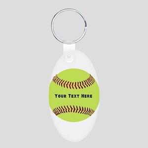 Customize Softball Name Aluminum Oval Keychain