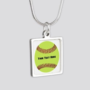 Customize Softball Name Silver Square Necklace