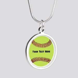 Customize Softball Name Silver Round Necklace