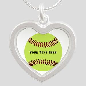 Customize Softball Name Silver Heart Necklace
