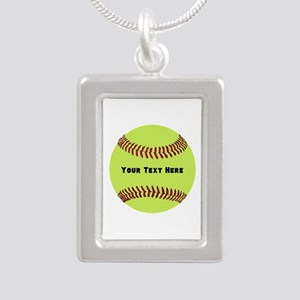 Customize Softball Name Silver Portrait Necklace