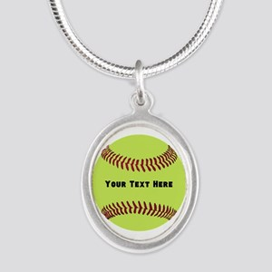 Customize Softball Name Silver Oval Necklace