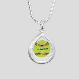 Customize Softball Name Silver Teardrop Necklace