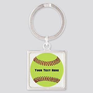 Customize Softball Name Square Keychain