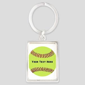 Customize Softball Name Portrait Keychain