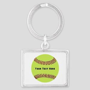 Customize Softball Name Landscape Keychain
