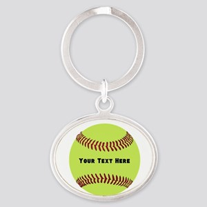 Customize Softball Name Oval Keychain