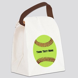 Customize Softball Name Canvas Lunch Bag