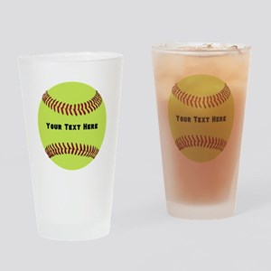 Customize Softball Name Drinking Glass