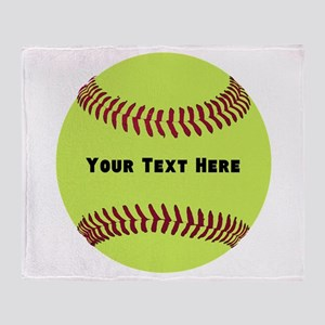 Customize Softball Name Throw Blanket