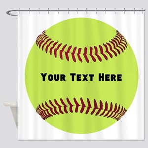 Customize Softball Name Shower Curtain