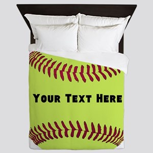 Customize Softball Name Queen Duvet