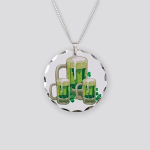 Green Beer Necklace Circle Charm