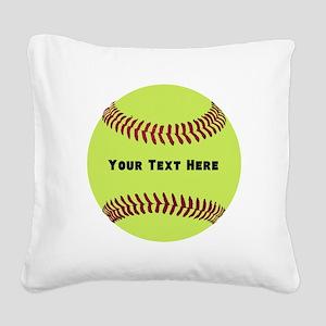 Customize Softball Name Square Canvas Pillow