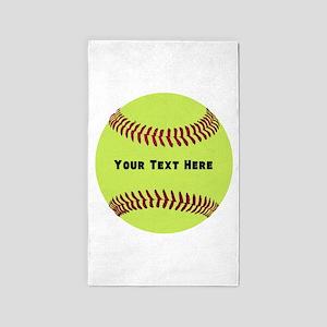 Customize Softball Name Area Rug