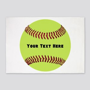 Customize Softball Name 5'x7'Area Rug