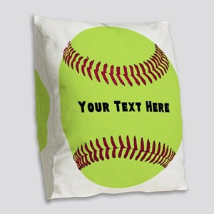 Customize Softball Name Burlap Throw Pillow