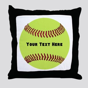 Customize Softball Name Throw Pillow