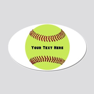 Customize Softball Name 20x12 Oval Wall Decal