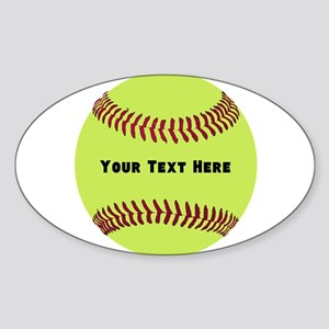 Customize Softball Name Sticker (Oval)