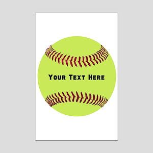 Customize Softball Name Mini Poster Print