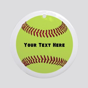 Customize Softball Name Round Ornament