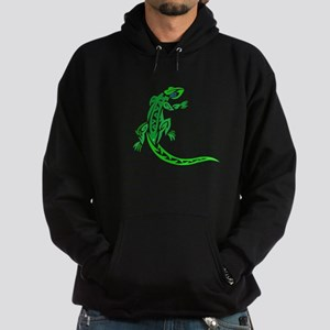 Lizard, Green Tribal Design, Hoodie (dark)