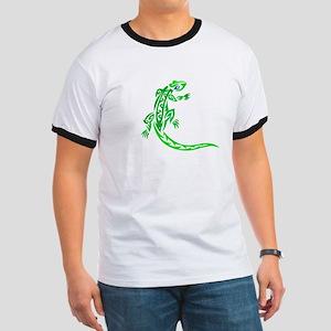 Lizard, Green Tribal Design, Ringer T