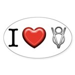 I love V8 Sticker (Oval 10 pk)