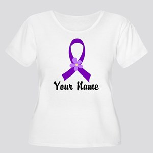 Personalized Purple Ribbon Daisy Women's Plus Size