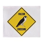 Falcon Crossing Sign Throw Blanket