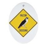 Falcon Crossing Sign Ornament (Oval)