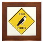 Falcon Crossing Sign Framed Tile