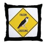 Falcon Crossing Sign Throw Pillow