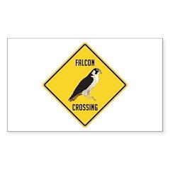 Falcon Crossing Sign Sticker (Rectangle)