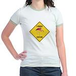Flamingo Crossing Sign Jr. Ringer T-Shirt