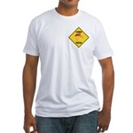 Flamingo Crossing Sign Fitted T-Shirt