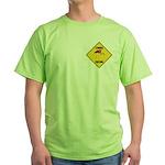 Flamingo Crossing Sign Green T-Shirt